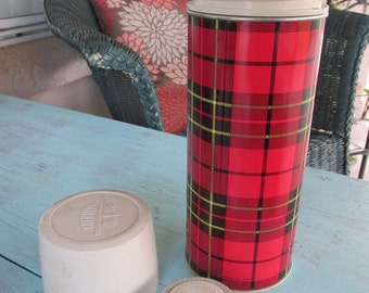 Vintage Thermos Plaid Red Black Yellow King Seeley **FREE SHIPPING**