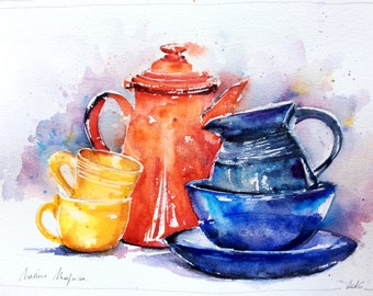 """Original watercolor - Delivery free """"safe"""" (still life blue red yellow kitchen pottery decorative plate pitcher multicolor)"""
