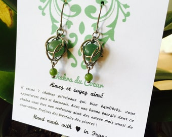 Earrings lithotherapy Chakra of the heart, stainless steel, aventurine and jade