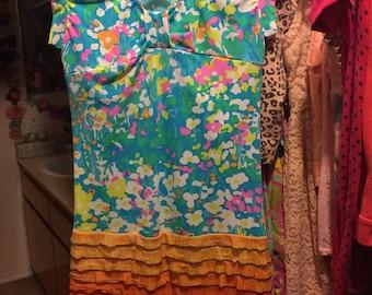 Kawaii Japan Harajuku Womans Rainbow Dress 80s Gay Pride Retro Vintage Spank 60s