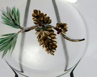 Evergreen And Pinecone Plate, Hand Painted, Christmas Decor, Holiday Decor, Gift