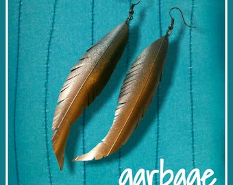 Copper Ombre Raven Feather Vegan Leather Earrings