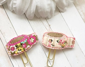 Washi Tape Planner Clip - Floral - Vintage Floral - Fabric and Felt - Planner Accessories