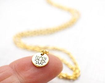 Gardening Gift Mini Gold Disk Necklace Tiny Gold Lotus Flower Necklace Dainty Lotus Necklace Petite Pendant Small Necklace Charm Chakra Yoga