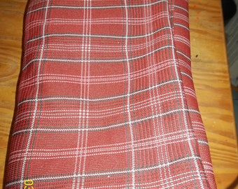 vintage plaid polyester fabric 3 yds