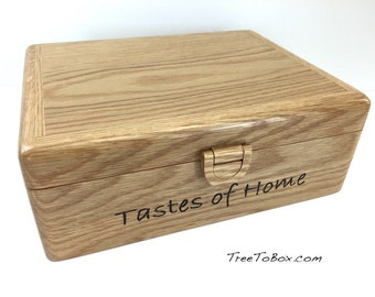Oak doublewide recipe box