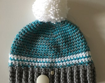 Snotlout Tuque with pompon wool Turquoise, grey and white (adult)