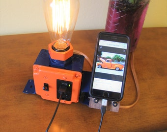 Industrial Edison / Steam Punk Style Desk Lamp with Receptacle, Dual USB Charger / iPhone, Phone Dock Station