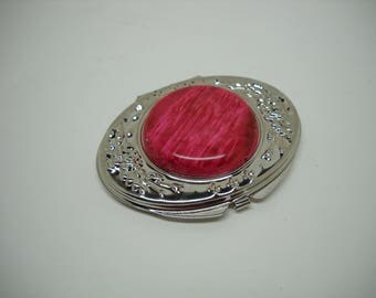 Pewter Finish Decorated Oval Double Mirror with Red Cabochon