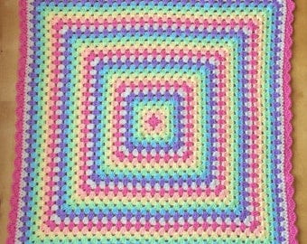 Handmade blanket. Afghan blanket. Pastel rainbow colours. Perfect for baby stroller/pram/carseat. Ready to ship.