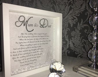 Mum & Dad after the wedding gift frame