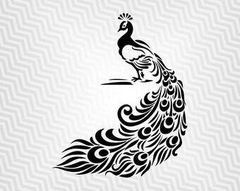 Peacock Svg, Bird design, Cutout, Vector art, Cricut, Silhouette Cameo, die cut, instant download, Digital Cut, Print Files Pdf, Svg