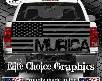 Murica Gray America Flag 2 Truck Tailgate Wrap Vinyl Graphic Decal Sticker Wrap