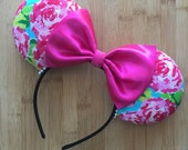 Lilly Pulitzer Ears, Lilly Pulitzer Inspired Ears, Lilly Ears, Lilly Minnie Ears, Lilly Mickey Ears, Lilly Mouse Ears Flower and Garden Ears