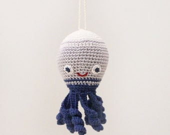 Crochet baby rattle Octopus, car seat toy, nautical hanging toy, baby gym toy, crib toy, under the sea, ocean play gym toy, newborn gift