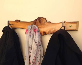 Cherry wood coat rack. Hanging display pegs for your coats. Branch slice. Natural wood branch. Wall rack with 3 hanging hooks for coats etc.