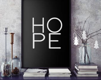 Hope print, typography poster, love hope faith set, wall art, hope art print, Giclee print, black and white poster, little tiger designs,