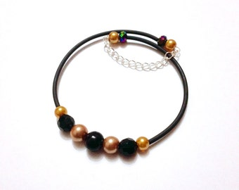 Black and Dark Gold Memory Wire Beaded Bracelet