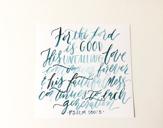 Original brush lettering calligraphy bible verse home