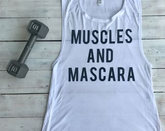 """Flowy """"Muscles and Mascara"""" Muscle Tank, Top"""