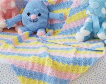 C2C Striped Blanket, Easy Crochet, Crochet Pattern. PDF Instant Download.