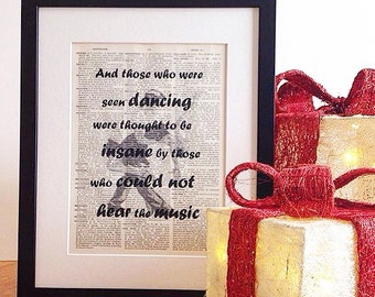 Sale... Half Price Clearance Sale, Music gift, Nietzsche Quote Print, Book Page, Vintage Print, Music Quote, Dancers, Music Print, Music Art