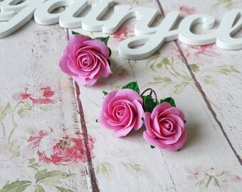 Pink rose set, rose earrings, rose ring, rose jewelry, polymer clay rose, realistic flowers, flower set, pink colour, clay rose.