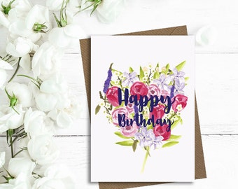 Happy birthday card, birthday card, floral birthday card, mum birthday card, wife birthday card, friend birthday card