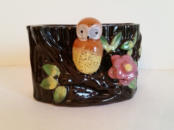 Tree Trunk Ceramic Container with Owl | Made in Occupied Japan | Mid Century Kitchen / Desk Organizer / Planter | 1950s Kitschy Decor