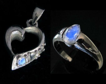 blue moonstone Heart shaped Pendant & Gemstone Ring Sterling silver 925