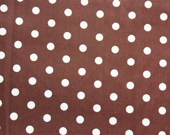 Polka dot Fabric, Cotton Fabric, Brown, Polka Medium Dots, Basic Essential, Quilting Dressmaking Sewing Patchwork Supplies, Wide, Half Metre