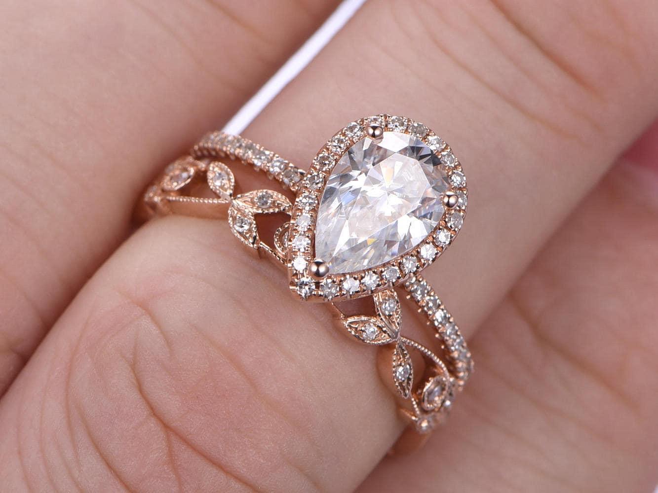 Wedding Ring Set Mossanite Ring 6X9mm Pear Cut Moissanite Engagement ...