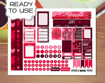 February Valentine's Monthly Layout MINI Happy Planner Stickers (Ready to Use)