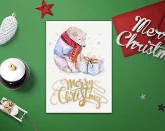 Merry Christmas Card Template   Diy Christmas Card Templates   Xmas Card  Template   Printable Merry