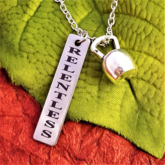 CrossFit Jewelry, Kettlebell Charms, RELENTLESS Charm Necklace, Running Jewelry, Sports Charm, Triathlon Gift, Gifts for Runners, Word Charm