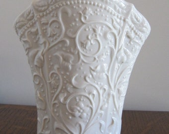 Vase, White Ceramic Vase, White Embossed Vase, Small Ceramic Vase