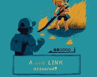 a wild link appeared zelda / pokemon T-shirt / link shirt / the legend of zelda tee / breath of the wild / wii U nintendo switch gameboy