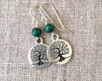Tree of Life earrings with green malachite beads / Malachite beads with silver plated Tree of Life / Celtic Tree of Life