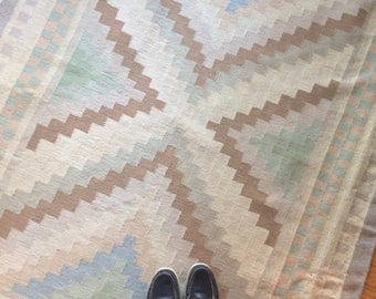 vintage wool rug, pastel colours, with fringe, southwestern style rug