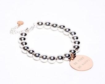 Be Free Be Happy bracelet, silver bracelet, bracelet engraved ID Bracelet, bracelet with writing,