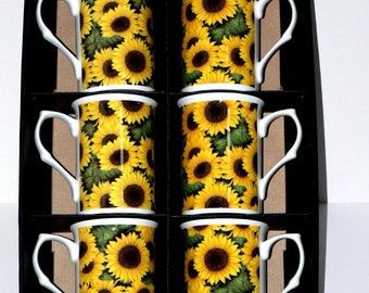Sunflower Bone china mugs - set of 6 gift boxed - Box of 6 each slightly different