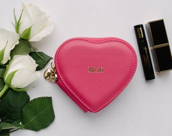 SALE!! Saffiano Leather Heart Coin Purse Pink