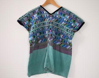 Vintage Handwoven Teal + Purple Huipil Blouse