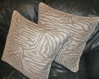 Brunschwig and Fils throw pillows Kirk BRUMMEL animal print ASHANTI cotton linen Custom new PAIR