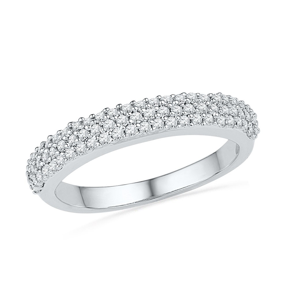Triple Band Bands: Triple Row Womens Diamond Wedding Band With 2/5 CT. T.W. In