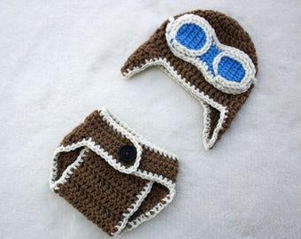 Pilot / Aviator Crochet Hat and Diaper Cover Set