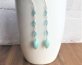 Sky blue apatite earrings, blue earrings, handmade earrings, dangle earrings, amazonite earrings, gemstone earrings