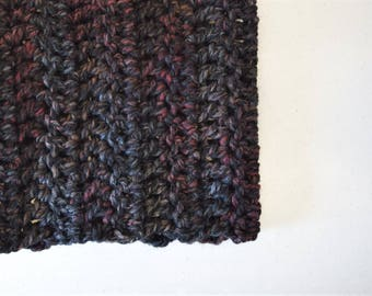 Chunky knit crochet cowl scarf ~ blackstone ~ Trees & Arrows cowl