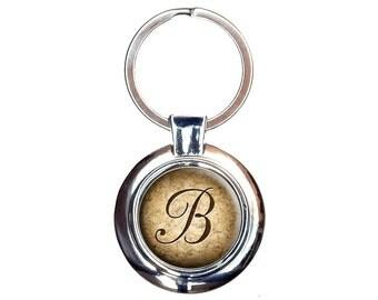 Letter B On Cork Design Keychain Key Ring