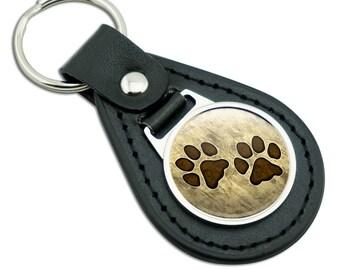 Grungy Pet Paw Prints Black Leather Metal Keychain Key Ring
